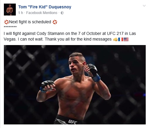 Ufc 216: Tom Duquesnoy vs Cody Stamann